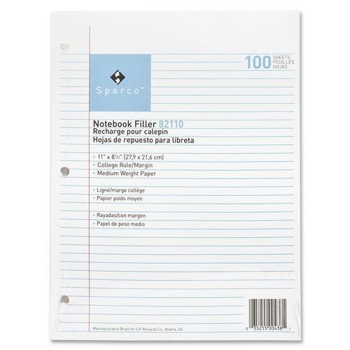 82110 Sparco Notebook Filler Paper - 100 Sheets - 16 lb Basis Weight - Letter 8.50