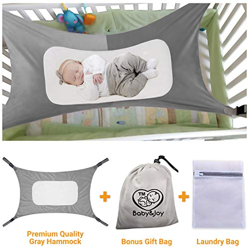 Baby Hammock for Crib, Mimics Womb, Bassinet Hammock Bed, Enhanced Material, Upgraded Safety Measures, Newborn Infant Nursery Bed by Baby&Joy (Bonus Gift Bag) (Baby Hammock Crib)