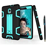 Tab A 8.0 2017 T380 Case DWaybox Shock-Absorption 3 in 1 Combo Hybrid Heavy Duty Armor Hard Back Case Cover for Samsung Galaxy Tab A 8.0 2017 SM-T380/T385/Tab A2 S 2017 (Black + Mint Green)