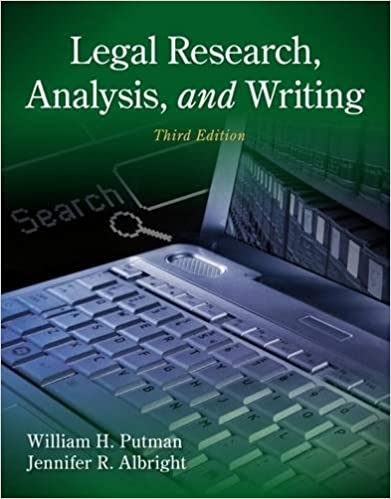 Legal Research Analysis And Writing William H Putman Jennifer
