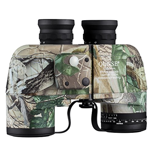 QUNSE 10×50 Military Binoculars for Adults with Range Finder and Compass, Suitable for Hunting, Bird Watching and Traveling 10×50, Army