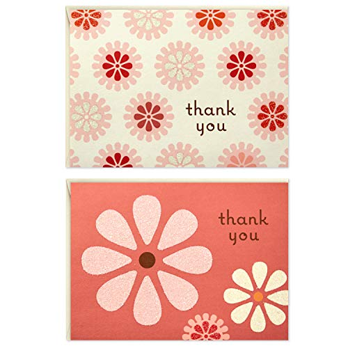 Hallmark Thank You Cards (Pink Flowers, 50 Cards and Envelopes)