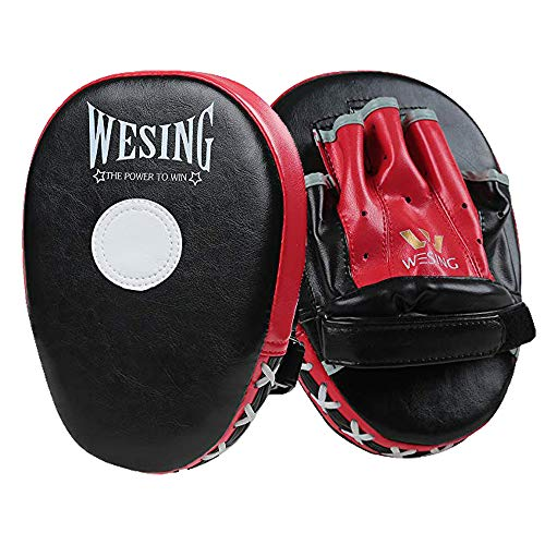 Wesing Boxing Pads Focus Pounching Mitts MMA Muay Thai Curved Kickboxing Training Strike Target Hand Pads Punching Shield-1 Pair