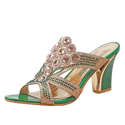 YE Damen Peep Toe Pantoletten Chunky Heels Glitzer Sandalen mit Strass und Blockabsatz Modern Freizeit Schuhe bRUQDDQJeh