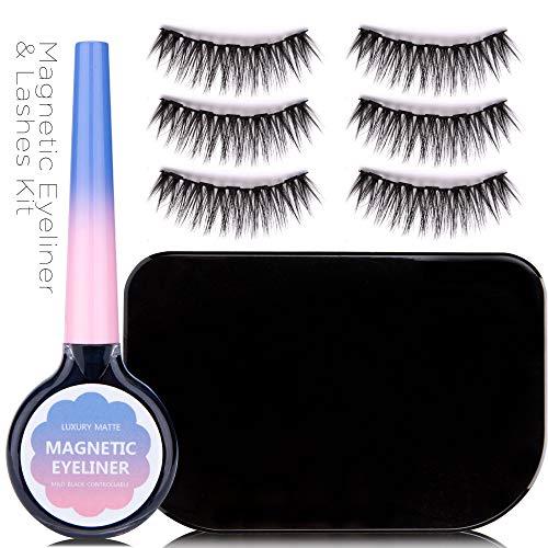 Essy Magnetic Eyeliner and Lashes Kit, Magnetic Eyeliner for Magnetic Lashes Set, With Reusable Lashes [3 Pairs] Dramatic Lash Kit 1