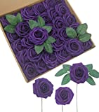 D-Seven Artificial Flowers 30PCS Real Looking Fake Roses with Stem for DIY Wedding Bouquets Centerpieces Party Baby Shower Home Decorations (Dark Purple)