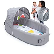 Lulyboo Bassinet to-Go Metro Portable Travel Newborn Baby Infant Bed for Sleep and Play Co-Sleeper Waterproof Base Breathable Portable and Folds Into A Backpack Includes Toy Bar Canopy 2 Toys