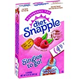 Diät Snapple Singles To Go Water Drink Mix - Raspberry Tea Flavored Powder Sticks (12 Boxes with 6 Packets Each - 72 Total Servings)