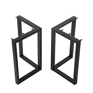 "Black Cast Iron Coffee Table Legs,Metal Furniture Legs 2 Pcs(H27.95""xW24""),Industrial Dining Table Legs,Rustic Heavy Duty Square Tube Desk Legs,Metal Legs for DIY Coffee Table Furniture Bench"