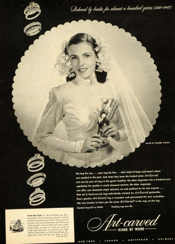 1947-ad-carved-rings-wood-gown-brides-marriage-jewelry-original-print-ad