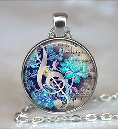 The Color of Music pendant, music necklace music jewelry music jewellery music lover's gift, music teacher gift, music keychain key chain (Asa Music)