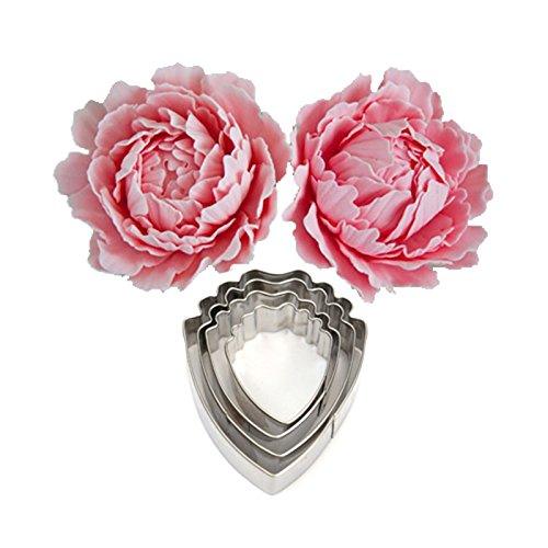 (OKUBOX BT11 4pcs Set of Peony Flower Cutter Decor Fondant Cake Cutters for Stainless Steel)
