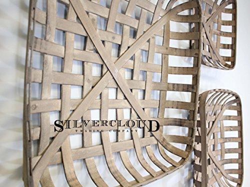 "Tobacco Basket Set of 3, Farmhouse Decor, 17"", 21"", 25"" Square"