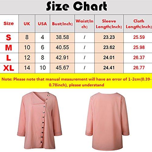 t Top Vrac Les Femme Longue Bouton Mousseline Rose de Blouses Chemises en Manche Soie Solide Printemps qCBBdE