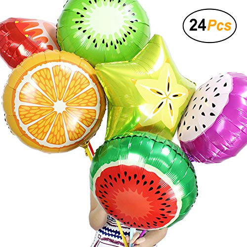 Simple polymer 18 Fruit Balloons Foil Balloons Mylar Balloons for Party Decoration, Pack of 24