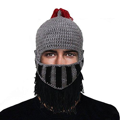 GIANCOMICS Red Tassel Roman Cosplay Knight Helmet Visor Beanie Knit Hat Cap Grey LM03 (Roman Head Wear)