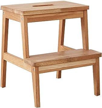 BOC Escalera de 2 escalones, taburete de madera maciza, taburete/banco de zapatos/taburete simple/banco de zapatos/banco de flores/taburete para vestirse: Amazon.es: Bricolaje y herramientas