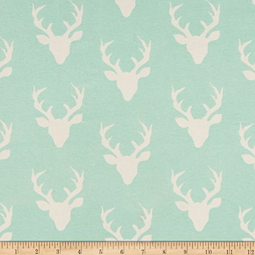 Art Gallery Fabrics Art Gallery Buck Forest Jersey Knit Fabric by the Yard, Mint by Art Gallery Fabrics