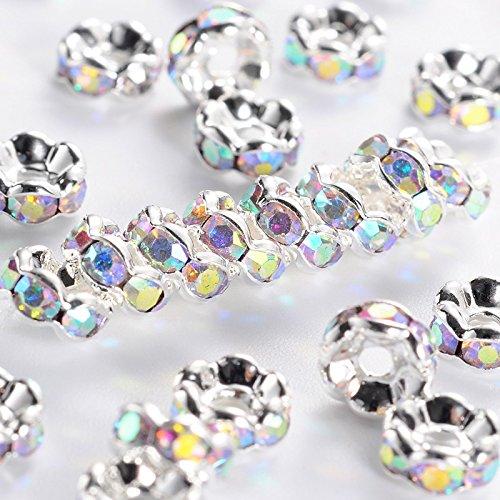 Pandahall 200pcs 6mm Brass Rhinestone Spacer Beads Bracelet Rondelle Crystal Loose Charms Grade AAA Wavy Edge Nickel Free Crystal
