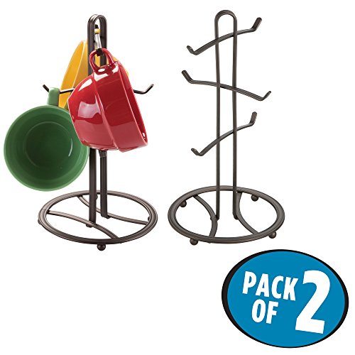 mDesign Decorative Kitchen Countertop Mug Rack Holder Stand for Hanging Coffee Mugs, Tea Cups - Freestanding Compact Mug Tree with 6 Hooks - Pack of 2, Steel Wire in Bronze (Island Display Rack)
