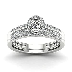 De Couer 10K White Gold 1/3ct TDW Diamond Halo Bridal Sets (H-I, I2)