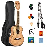Classical Ukulele Kit Tiger Flame Okoume Wood for Beginner and Professional Player By Kmise (23 Inch Concert)