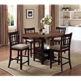 5pc Counter Height Dining Table and Stools Set Light Chestnut/Espresso Finish