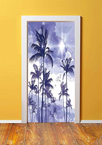 Ocean 3D Door Sticker Wall Decals Mural Wallpaper,Exotic Tropical Tall Palm Trees at Beverly Hills Sunset on Windy Day Abstract Artsy Print Decorative,DIY Art Home Decor Poster Decoration 30.3x78.5159 -
