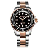NEYMAR Men's 1000m Diving watch stainless steel Rose gold Automatic 500m diving watch