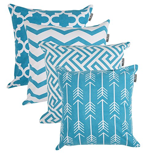 Accent Home Square Printed Cotton Cushion Cover,Throw Pillow Case, Slipover Pillowslip For Home Sofa Couch Chair Back Seat,4pc pack 18x18 in Aqua color