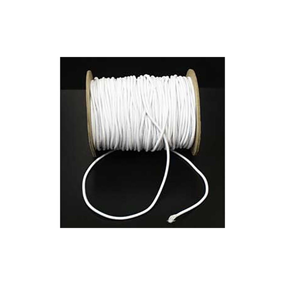 1mm wide Round White Hat Elastic Cord - per 5 metres
