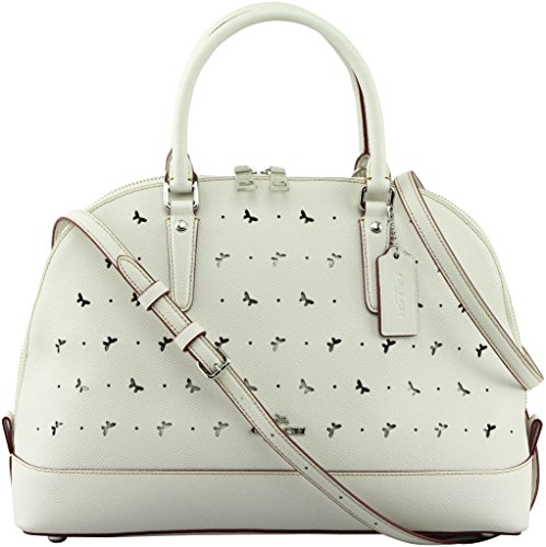 Coach Women's Sierra Satchel In Perforated Crossgrain Leather, Style F59344, Silver Chalk by Coach