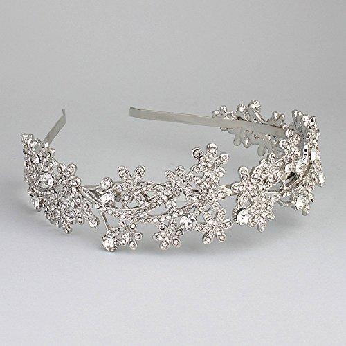 Ammei Wedding Headband Crystal Bridal Headdress Flower Design Headpiece For Women (Silver)