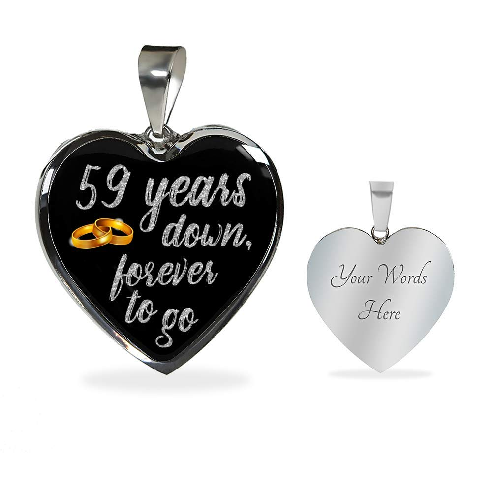 Teerrific Engraved 59 Year Anniversary Necklace for Women Personalized Silver Gold Heart 59th Year Anniversary Necklace for Her Girlfriend Wife