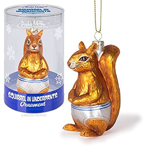 Squirrel Underpants Glass Ornament Accoutrements product image