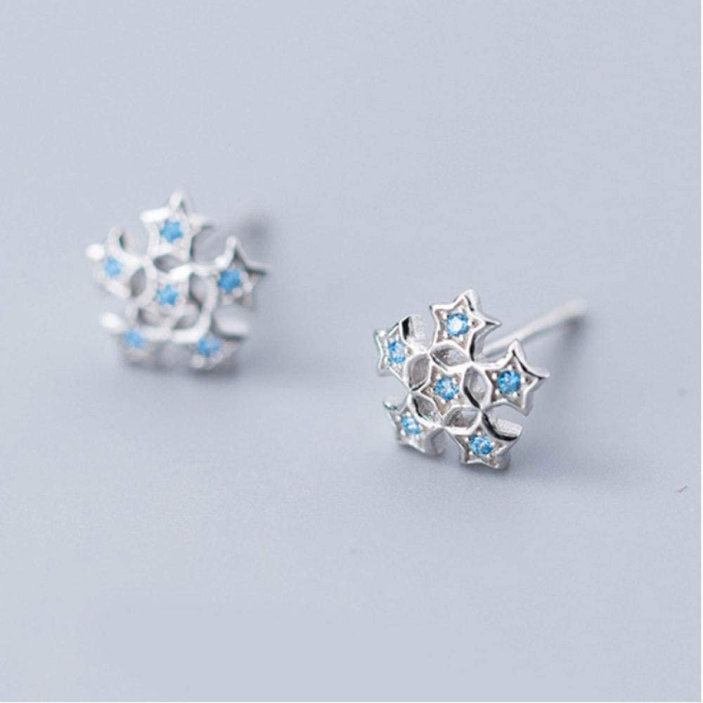 SGJKG Pendiente 925 Estrellas de Plata esterlina Real con Perno de Piedra Azul para Mujer Amigo niño Dama joyería