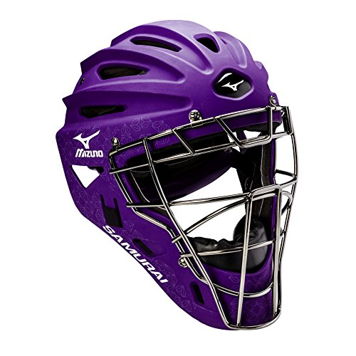 Mizuno Samurai Women's Fastpitch Softball Catcher's Helmet, Size 6 1/2-7 1/4, Purple (Catchers Helmet Purple)