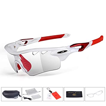 Aili Fotocrómico Polarizado Gafas Deportivas, Gafas De Ciclismo, para Esquiar Golf Riding Conducir Pesca