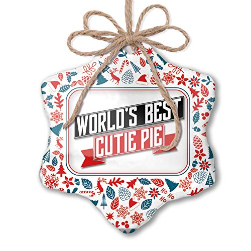 NEONBLOND Christmas Ornament Worlds Best Cutie Pie Red White Blue Xmas
