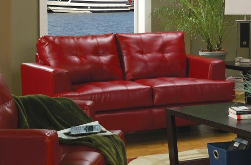 Coaster Home Furnishings Casual Contemporary Loveseat, Red Samuel Black Bonded Leather