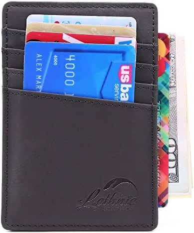 Lethnic RFID Front Pocket Wallet - Business card holder - Minimalist, Ultra Slim, Thinnest Wallet - Best gift for Men, Women and Teen - Safe Wallet For Travel - Genuine Leather (Blue Navy)