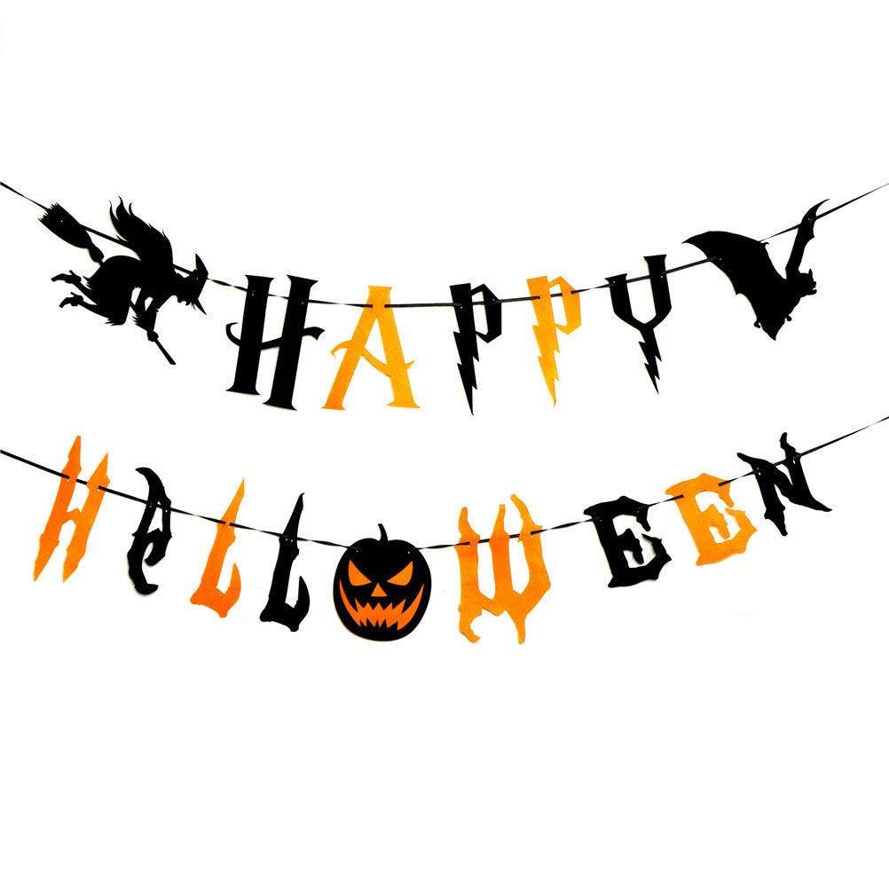 CaJaCa HAPPY HALLOWEEN Banner Bunting Garland Halloween Party Decorations Supplies Bat Witch Pumpkin Sign Party Decoration Supplies