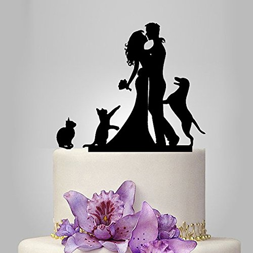 Acrylic Couple With 1 Dog and 2 Cats Wedding Cake Topper/Wedding Stand/Wedding Decoration Wedding Cake Accessories Marriage
