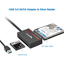 "Rocketek CFast 2.0 Card Reader + USB 3.0 to SATA Converter Cable Adapter Support CFast 2.0 Memory Card and SDD & 2.5"" Sata HDD Hard Drive - Read and Write Hard Drive and CF Card Simultaneously"