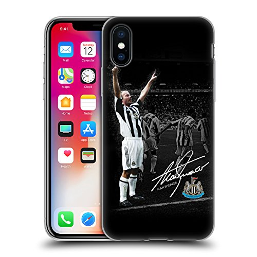 Official Newcastle United FC NUFC Shearer Photo Signed Retro Badge Collection Soft Gel Case for iPhone X/iPhone Xs