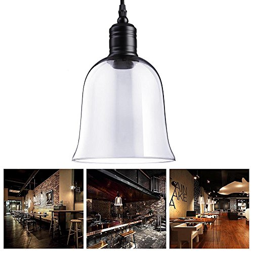 Yescom Hanging Bell Shaped Mouth-blown Transparent Glass Shade Vintage Pendent Fixture for Ceiling Lamp Lighting - Glass Pendant Light Set