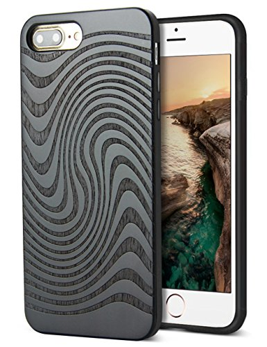Compatible for iPhone 7 Plus Shockproof Case, Natural Wood Carving Design Hybrid Heavy Duty Shockproof Anti-Scratch Shockproof Back Case for Apple iPhone 7/8 Plus