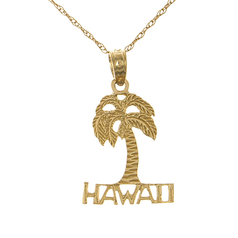 14k Yellow Gold Travel Necklace Pendant with Chain, Hawaii Under Palm Tree