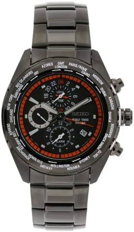 Seiko Men s SPL037 World Timer Stainless Steel Chronograph Black Dial Watch