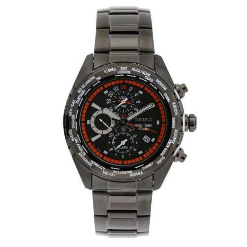 Seiko Men's SPL037 World Timer Stainless Steel Chronograph Black Dial Watch